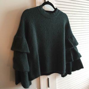 Endless Rose Tiered Sleeve Sweater- Dark Green